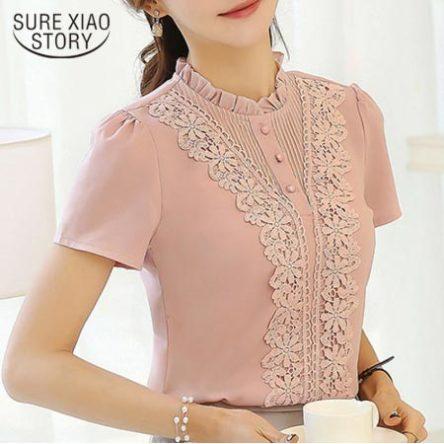 Lady Blouses Plus Size Short Sleeve Shirt