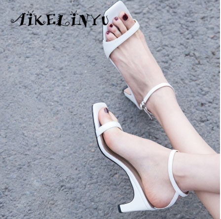 Summer Sandals Sheepskin Buckle Strap Woman Shoes