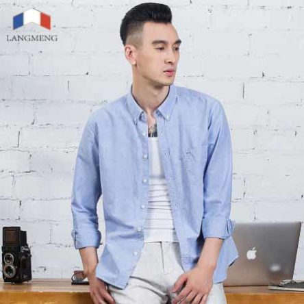 Langmeng Spring Casual Shirts for Men