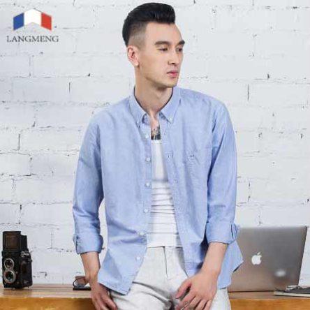 Langmeng Spring Casual Shirts for Men