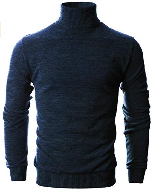 Mens Slim Fit Long Sleeve Turtleneck for men