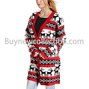 Womens Oversized Christmas Reindeer Cardigan
