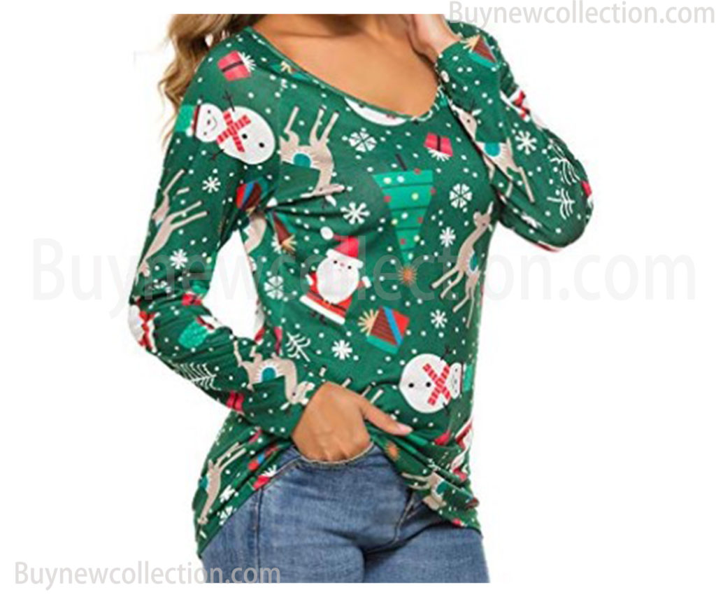 Long Sleeve T-Shirt Casual blouse tops for women Ugly Christmas buy new collection