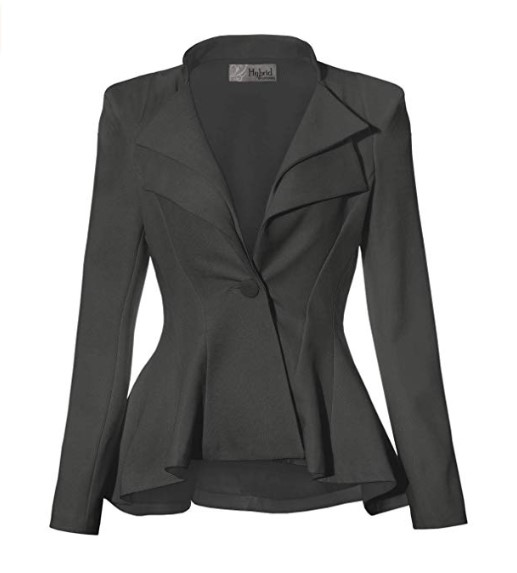 Women Double Notch Lapel Sharp Blazer