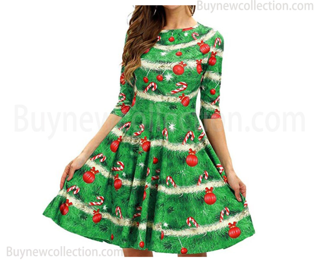Women's 3D Print Short Sleeve Flared Midi Dress Ugly Christmas buy new collection
