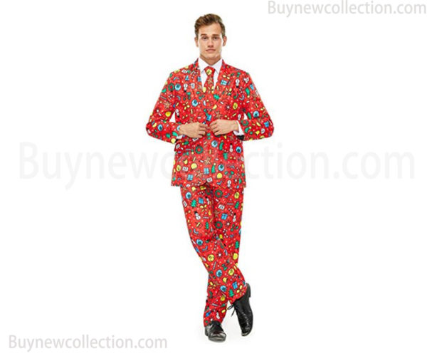 Ugly Christmas Men's Suits with Jacket, Trousers, Tie - Party Suits and Funny Costume Suits as Christmas gift